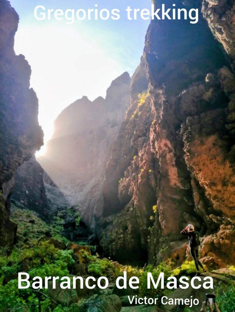 Sunrise in Masca ravine. Gregorios trekking Tenerife. Barranco de Masca